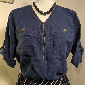 Ellen Tracy Chambray Zip 3/4 Length Sleeve Top